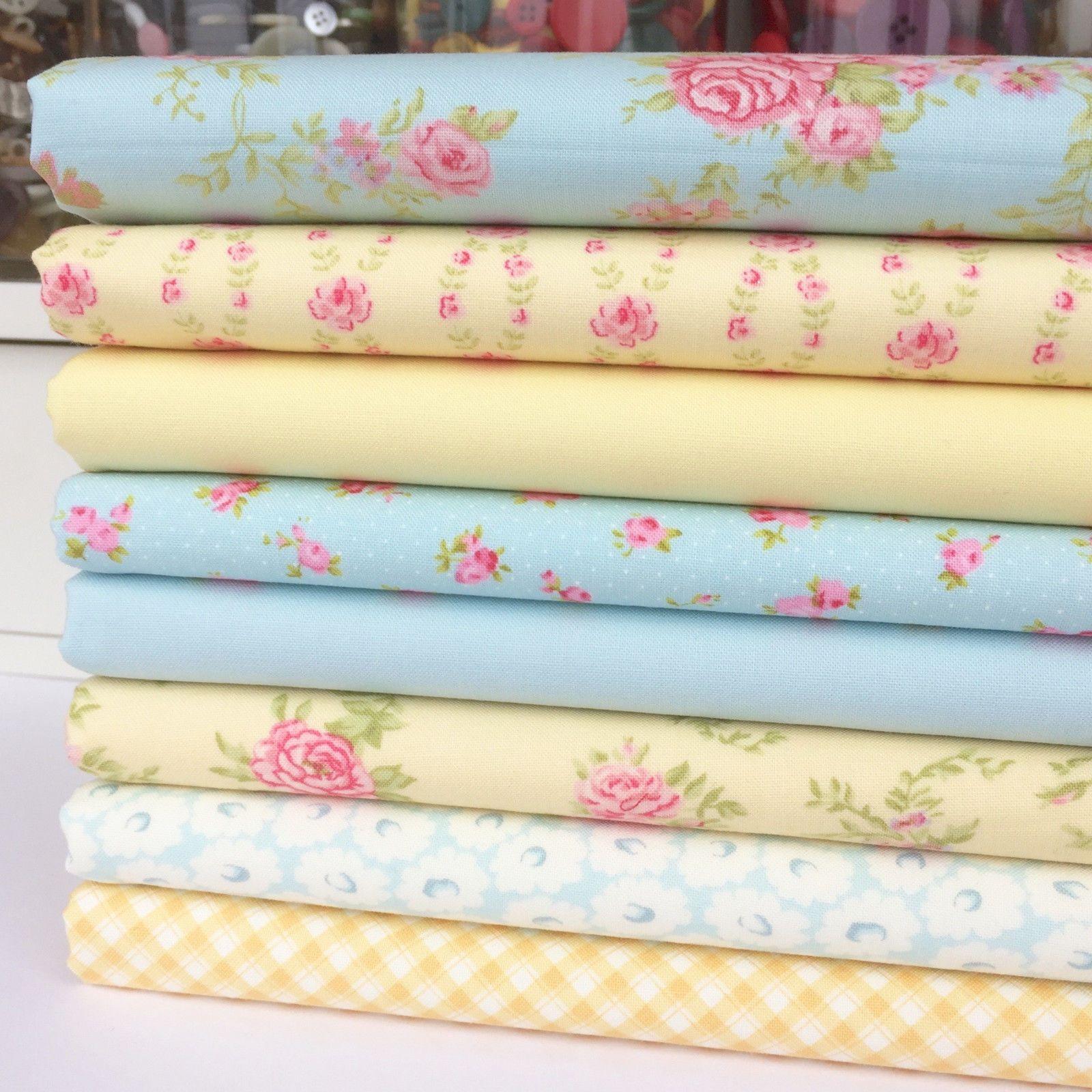 NEW 8 pcs BUNDLE pink FQ COTTON FABRIC floral Joblot Mixed Crafts 50 x 40 cm