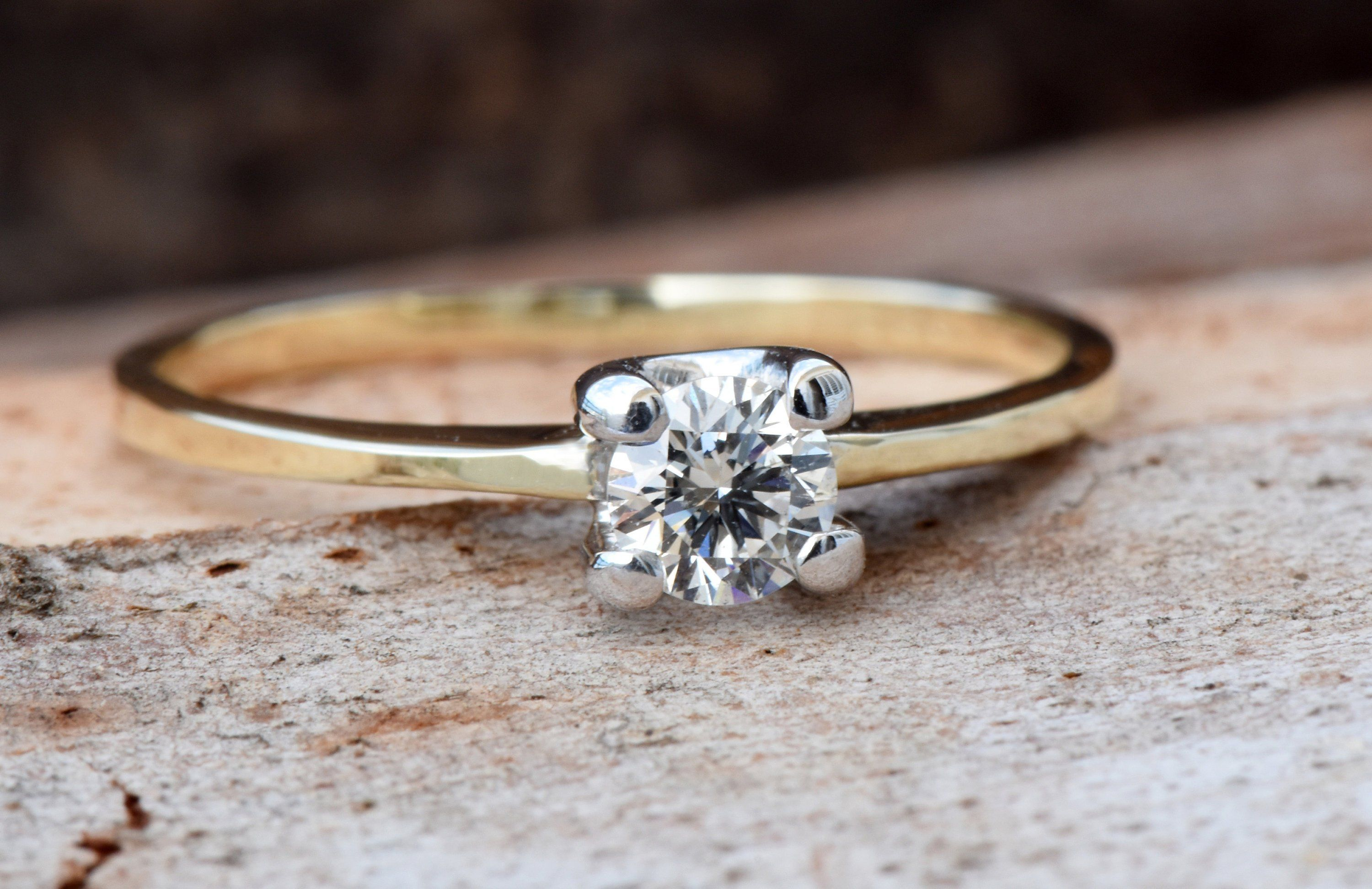 Gold Solitaire Ring-Solitaire ring-1ct Engagement Ring-Promise ring-Art deco ring-Custom Ring-Bridal ring-Solid gold ring-Branch ring