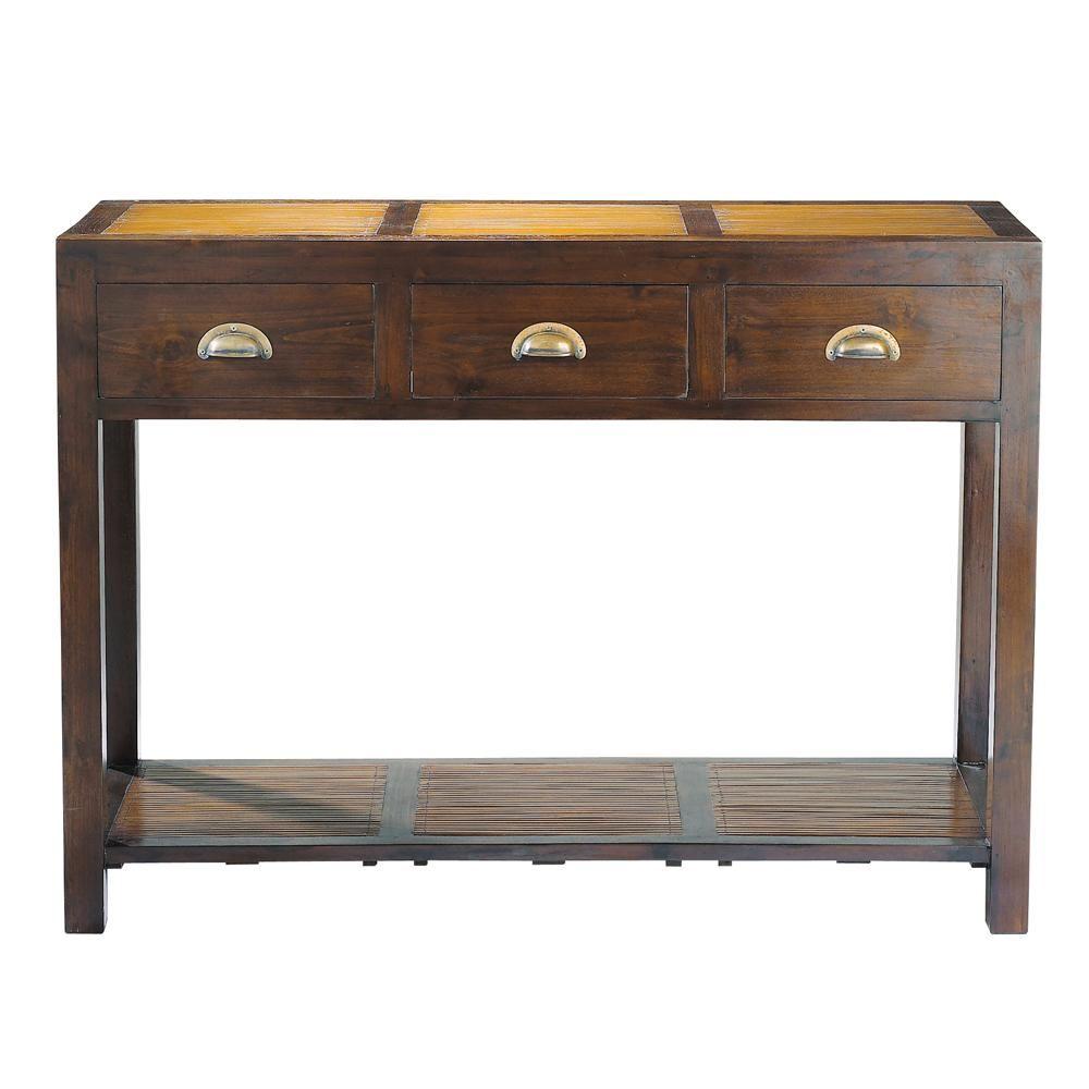 Table console en teck massif et bambou L 110 cm Bamboo | appart ...