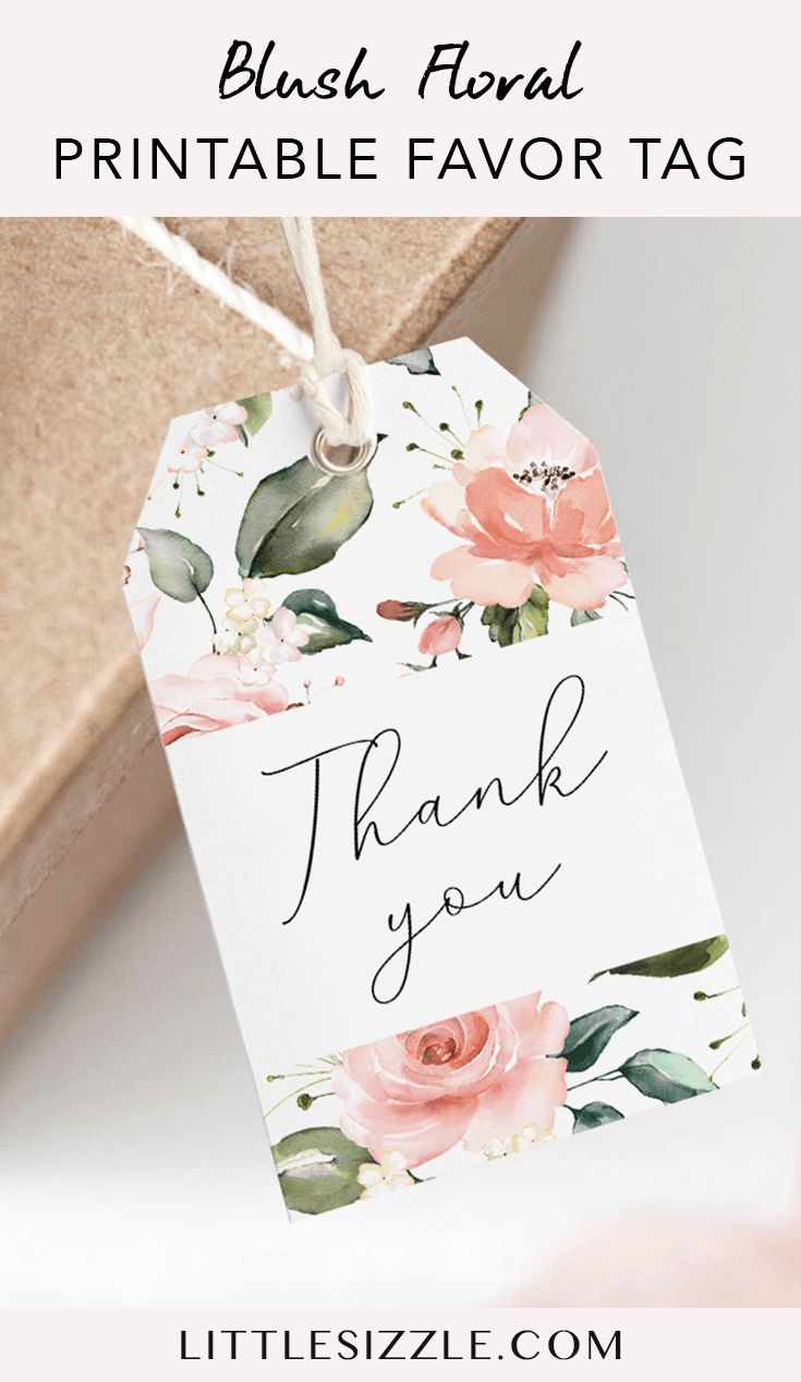 Blush Floral Thank You Favor Tag Printable by LittleSizzle. Thank your guests for coming with these gorgeous blush pink favor tags with watercolor flowers. Print the tags on card stock, trim them following the trim marks, put a cord through the hole and you're ready to display them. This printable thank you label is an instant download. #thankyoulabel #favortags #thankyoutag #watercolor #floral #bridalshowerfavors #babyshowerfavors #thankyou #DIY #printable #tag #label #littlesizzle #flowers