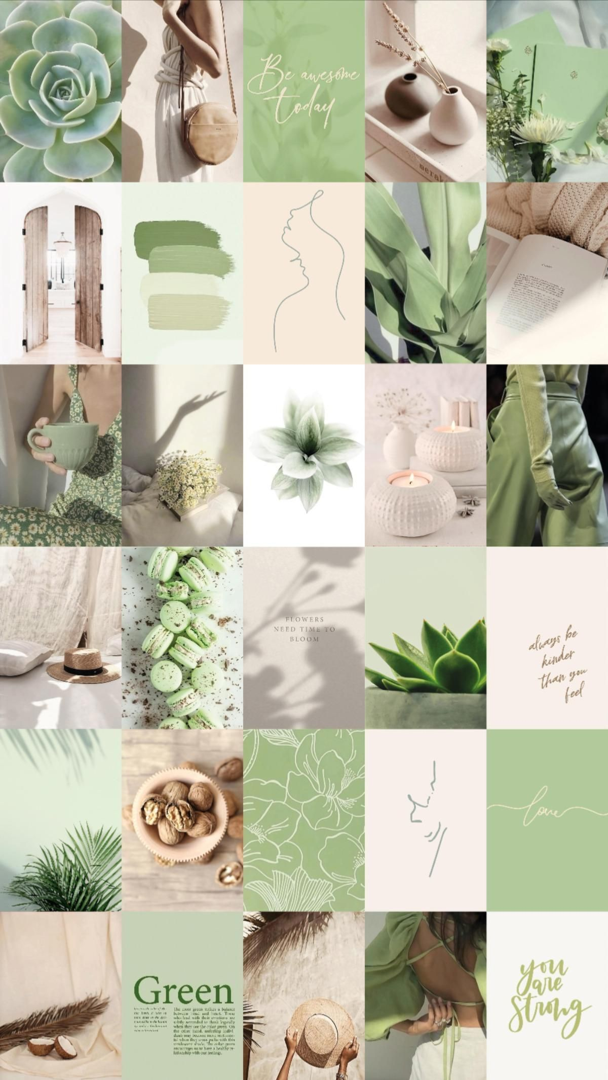 Spice up your room with this sage green aesthetic wall collage!