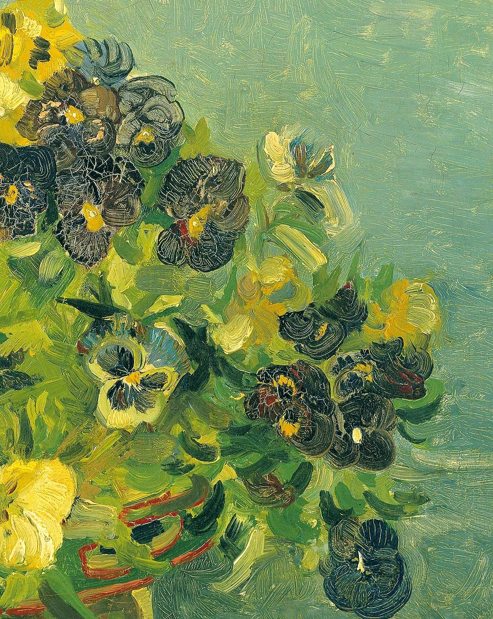 Basket of Pansies (detail), Vincent Van Gogh.
