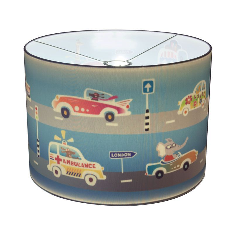 Highway Blue lamp by Hartendief. The exterior is plain white, the illustration appears when you switch on the light....  #hartendief #Illuzzz #lights #kinderlamp #silhouettelamp #cars #blue