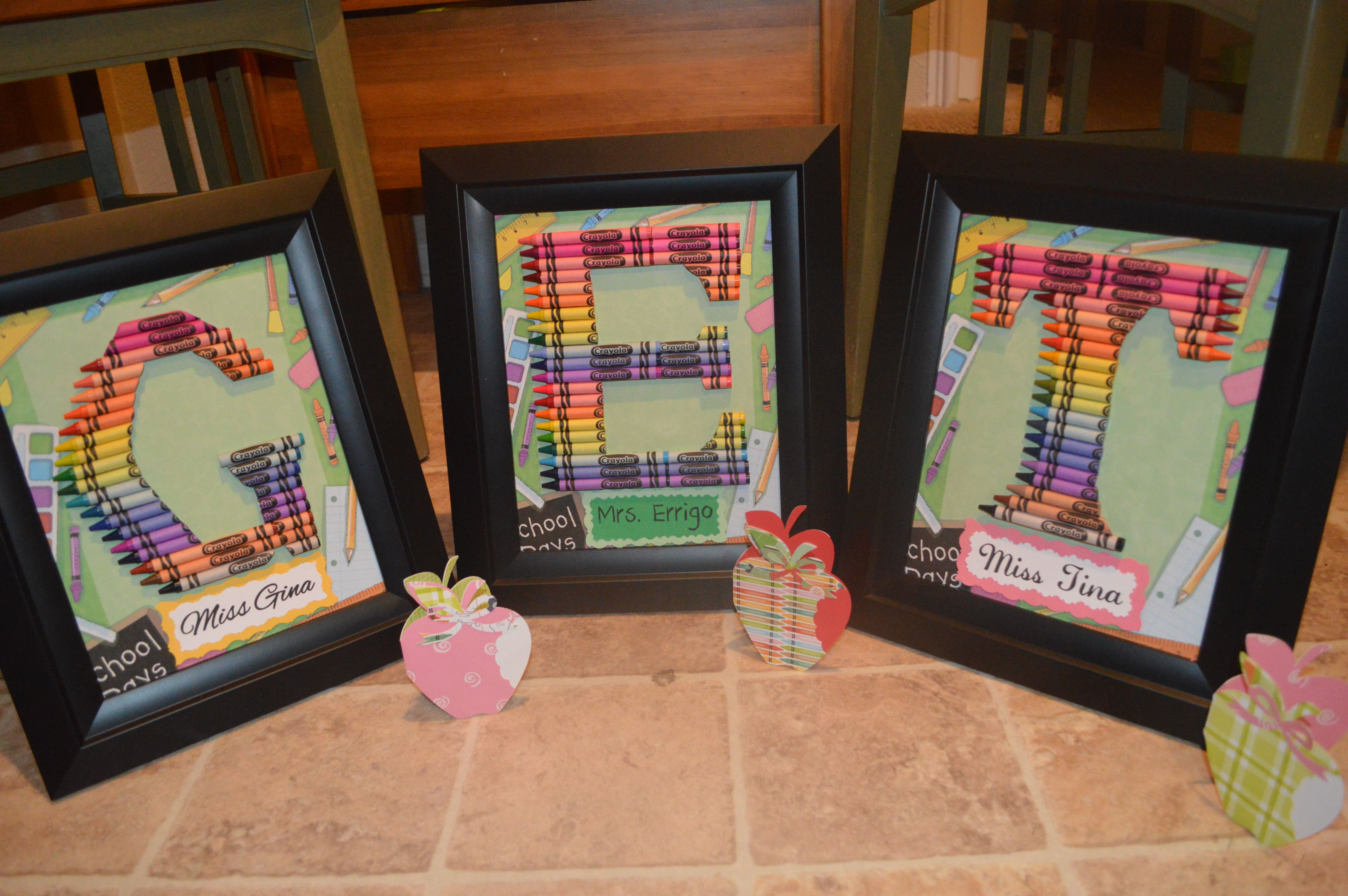 Teacher Gifts Personalized Rainbow Crayon Letter Art  Letters G