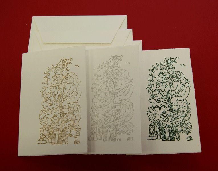 Weihnachtskarten - 2013 -Weihnachtskarten 3erSet-Weihnachtsmann2 - ein Designerstück von paperfun bei DaWanda