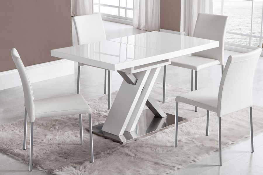 table à manger extensible blanc laqué et argent design osaka Table ...