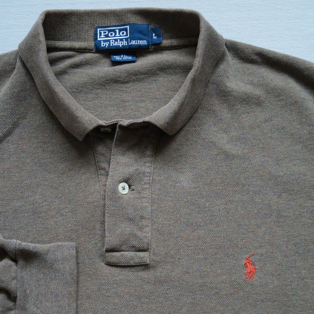 a3e8ad8ad Ralph Lauren Mens Polo Shirt Size L Top Brown Long Sleeve Vintage Red Log xl