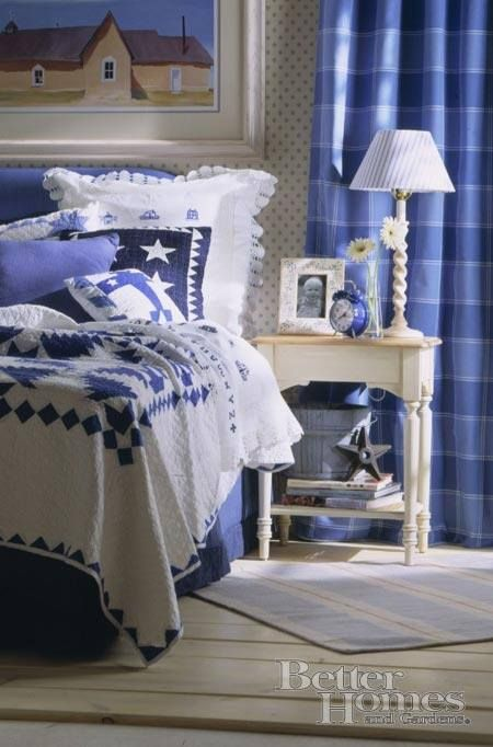 Beautiful Master Bedroom Love The Blues And Quilt Blue