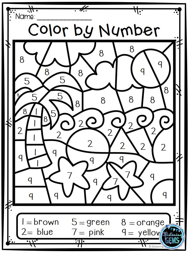 Summer Color By Number Kindergarten Coloring Pages Numbers For Kids Summer Math Kindergarten