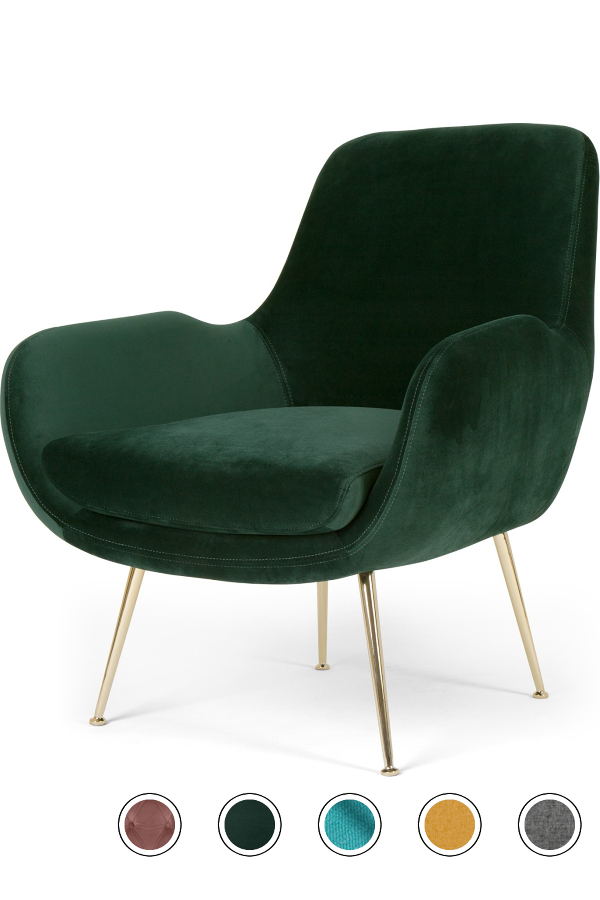 Moby Accent Armchair Pine Green Velvet In 2020 Green Armchair