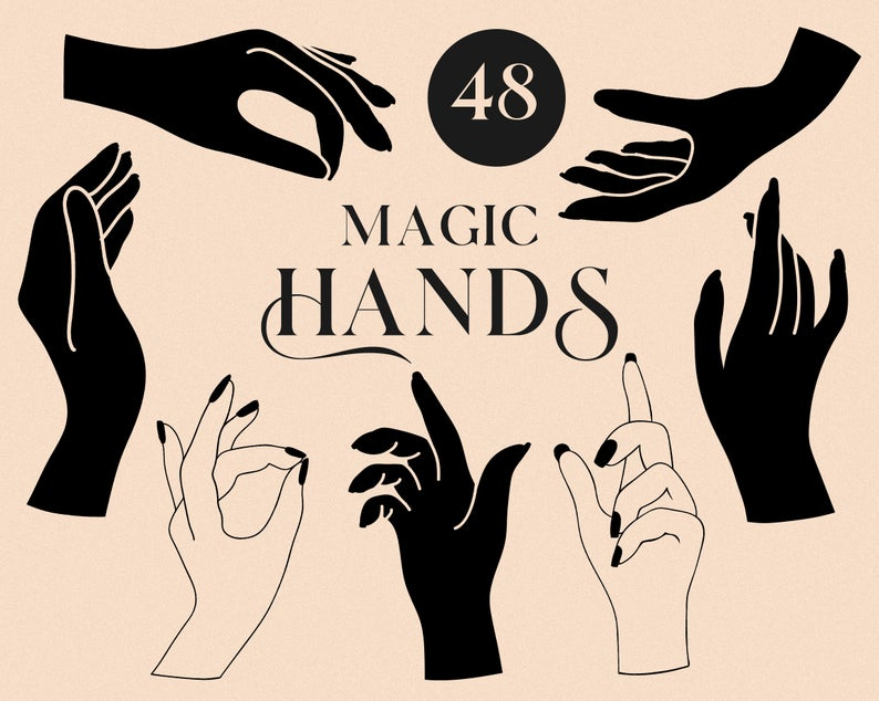 Hands Clipart Magic Mystic Hand Gestures Icons Symbols Etsy In 2021 Clip Art Hand Clipart Hand Outline