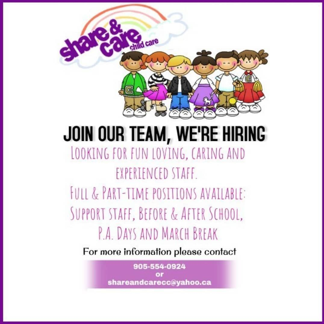 Share Care Child Care Is Hiring Looking For A Position In The Childcare Field For More Information Visit Us At Shareand Share Care Positivity Childcare