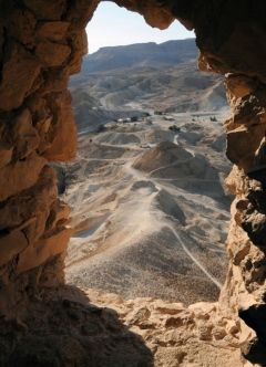 Looking out over the rugged, peacefully beautiful landscape surrounding the former Jewish fortress of Masada in Israel, it is difficult to imagine the violence and tragedy that occurred here in the first century. This is where Jewish patriots made their last stand against a Roman army bent on wiping out any remnants of resistance to Roman rule. http://exploretraveler.com http://exploretraveler.net