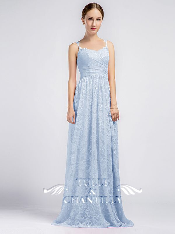 Long Sweetheart Lace Bridesmaid Dresses With Keyhole Back Tbqp351