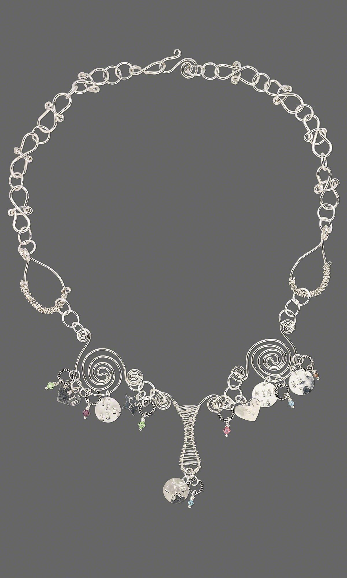 Single-Strand Necklace with Sterling Silver Wire, Beads and Charms ...