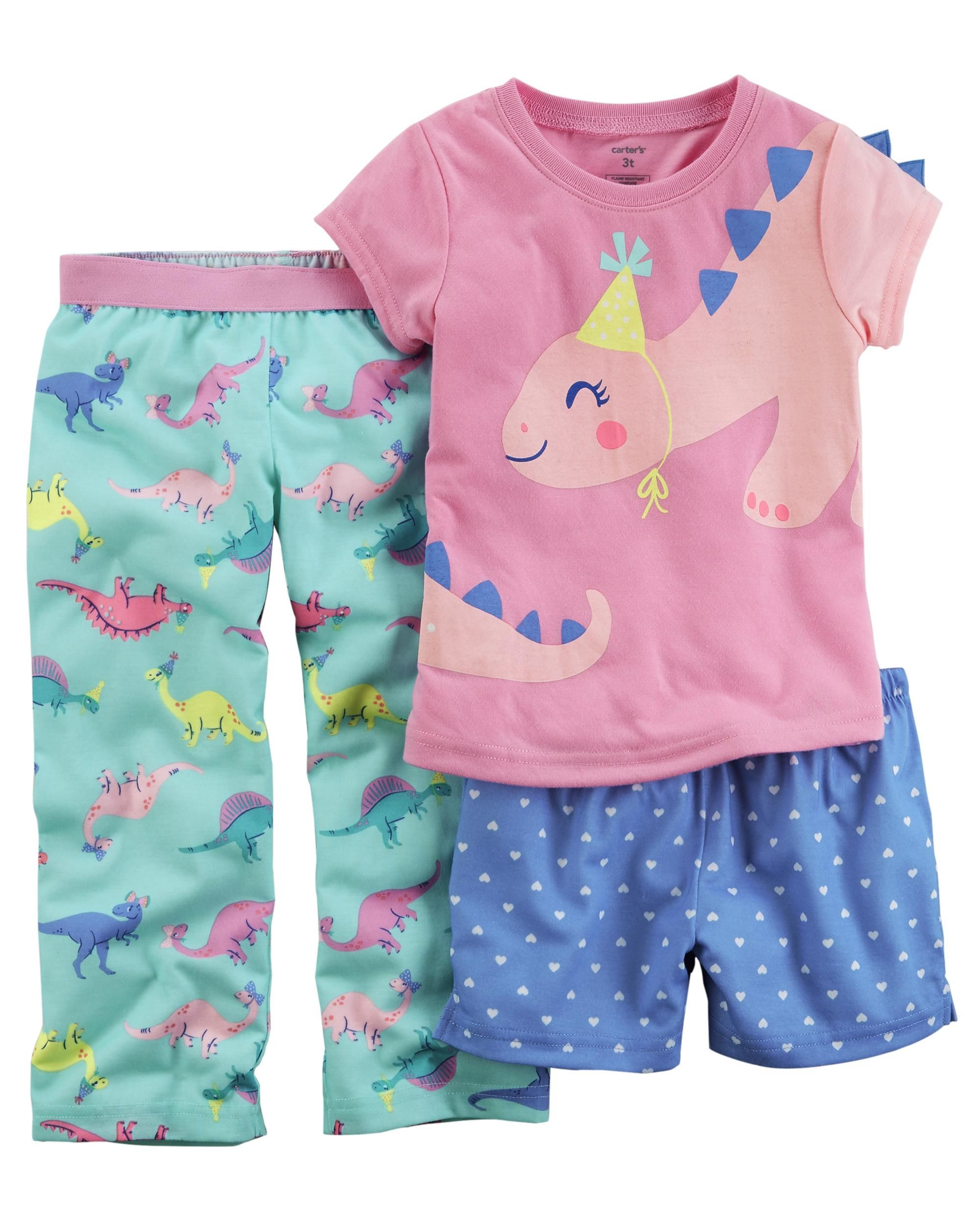 53dfcdf378b5 Toddler Girl 3-Piece Dinosaur Jersey PJs from Carters.com. Shop ...
