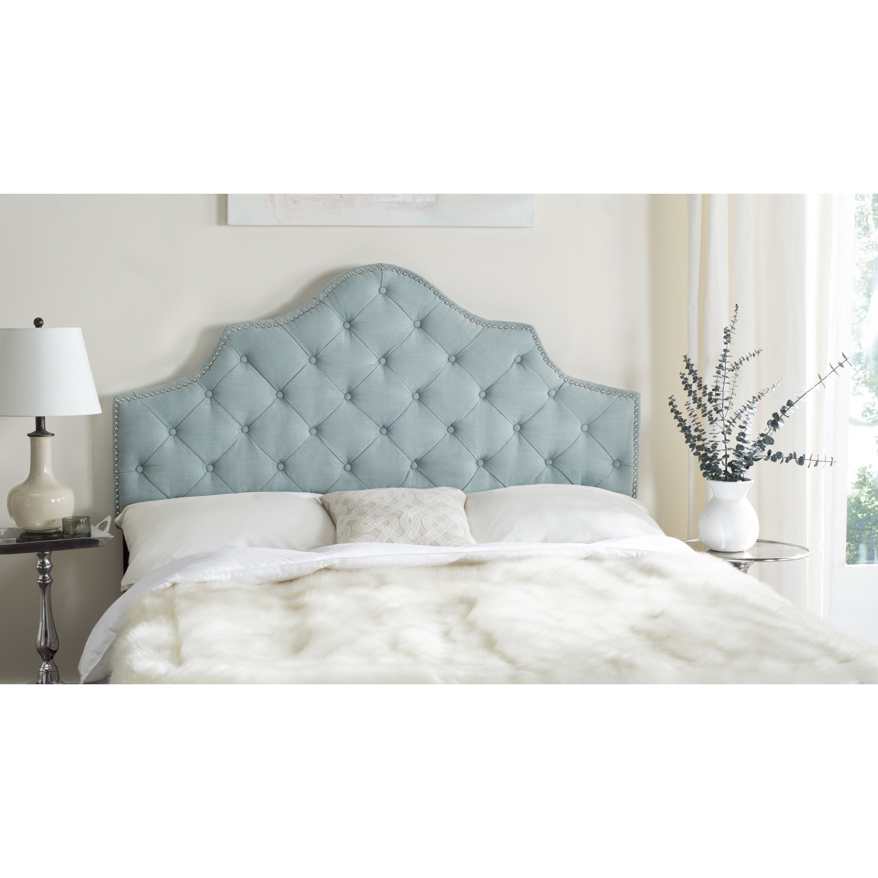 headboard grey scooped tufted shop upholstered square stores mattress headboards
