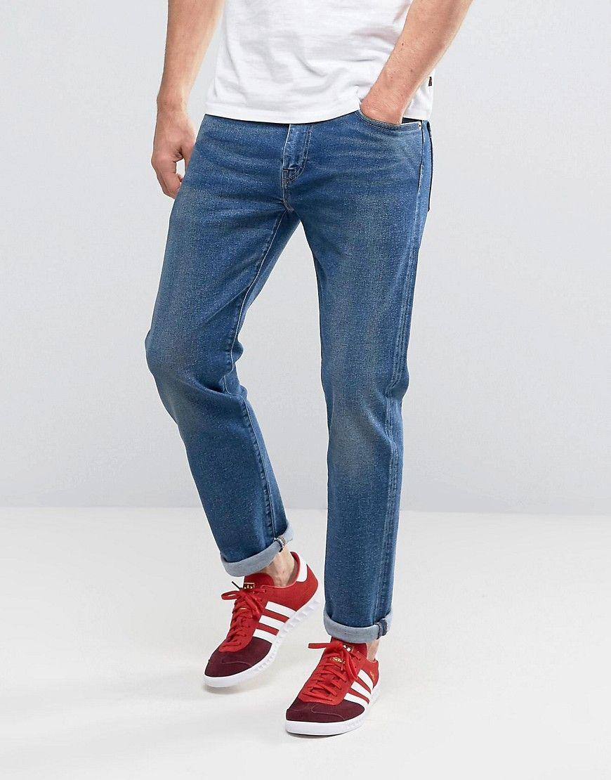 Shop Levis 502 Regular Taper Fit Jeans The Strip Mid Wash at ASOS.