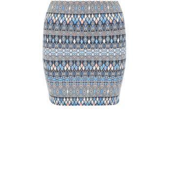 Teens Blue Diamond Aztec Print Tube Skirt