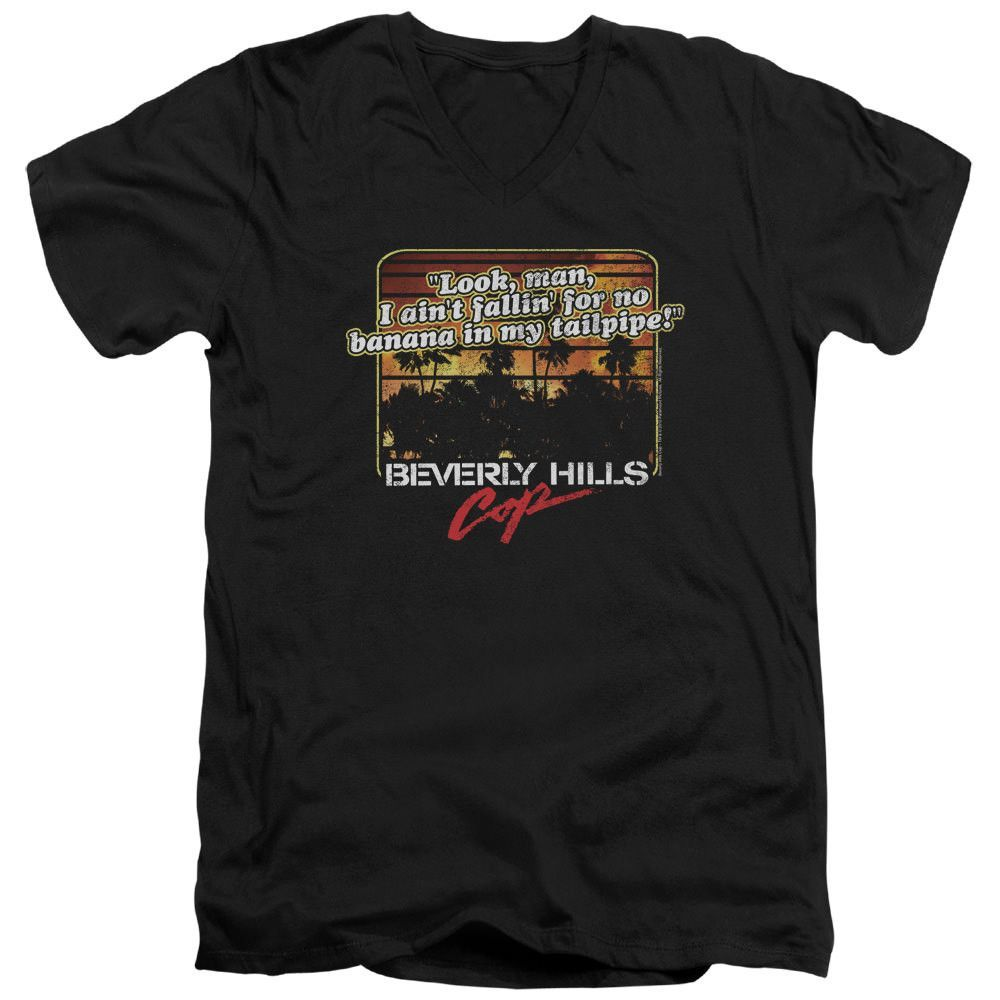 Beverly Hills Cop Banana in My Tailpipe Black V-Neck T-Shirt