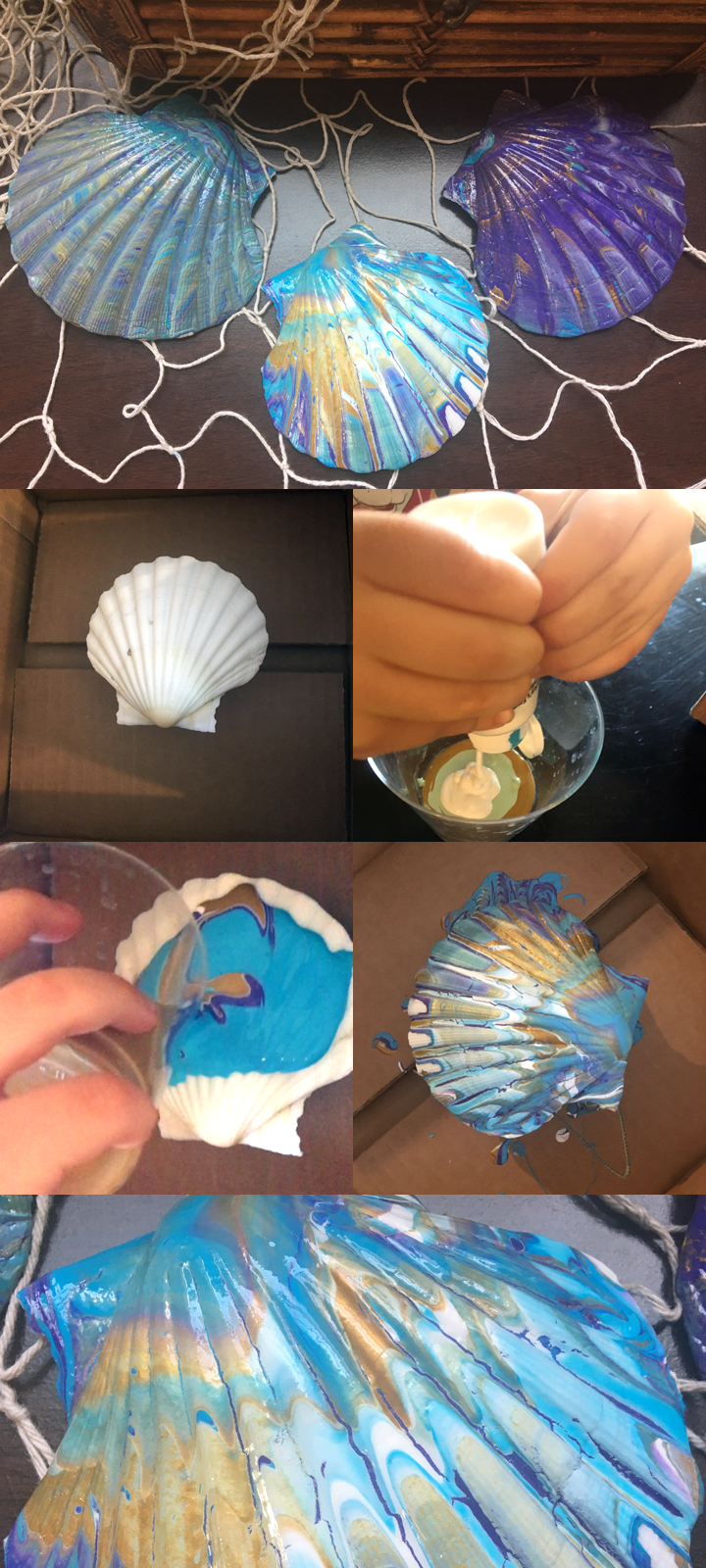 DIY Mermaid Craft - Acrylic Pouring Over Shells - Style Me Fantasy    Easy Mermaid Craft - this is a very quick and kid friendly #craft! Decorate magical mermaid shells. Perfect for a mermaid party or for mermaid decor.     #mermaid #DIY #sea #shell #acrylic #acrylicpouring #mermaidbathroomdecor