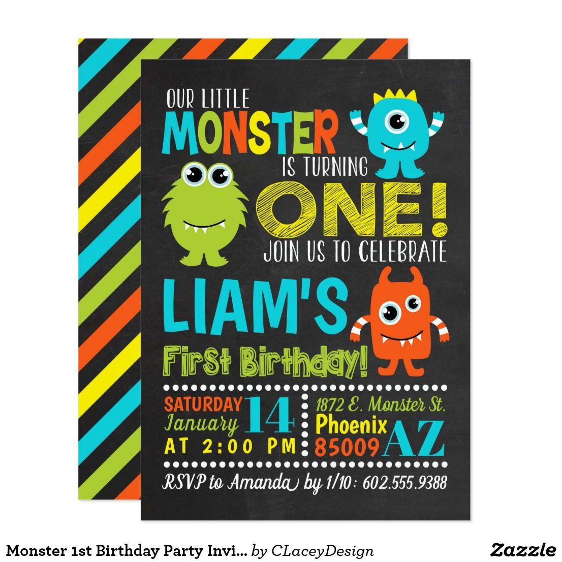 Monster 1st Birthday Party Invitation | Zazzle.com