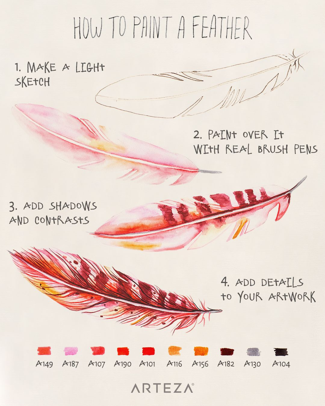Real Brush Pens Set Of 48 In 2020 Feather Drawing Watercolor