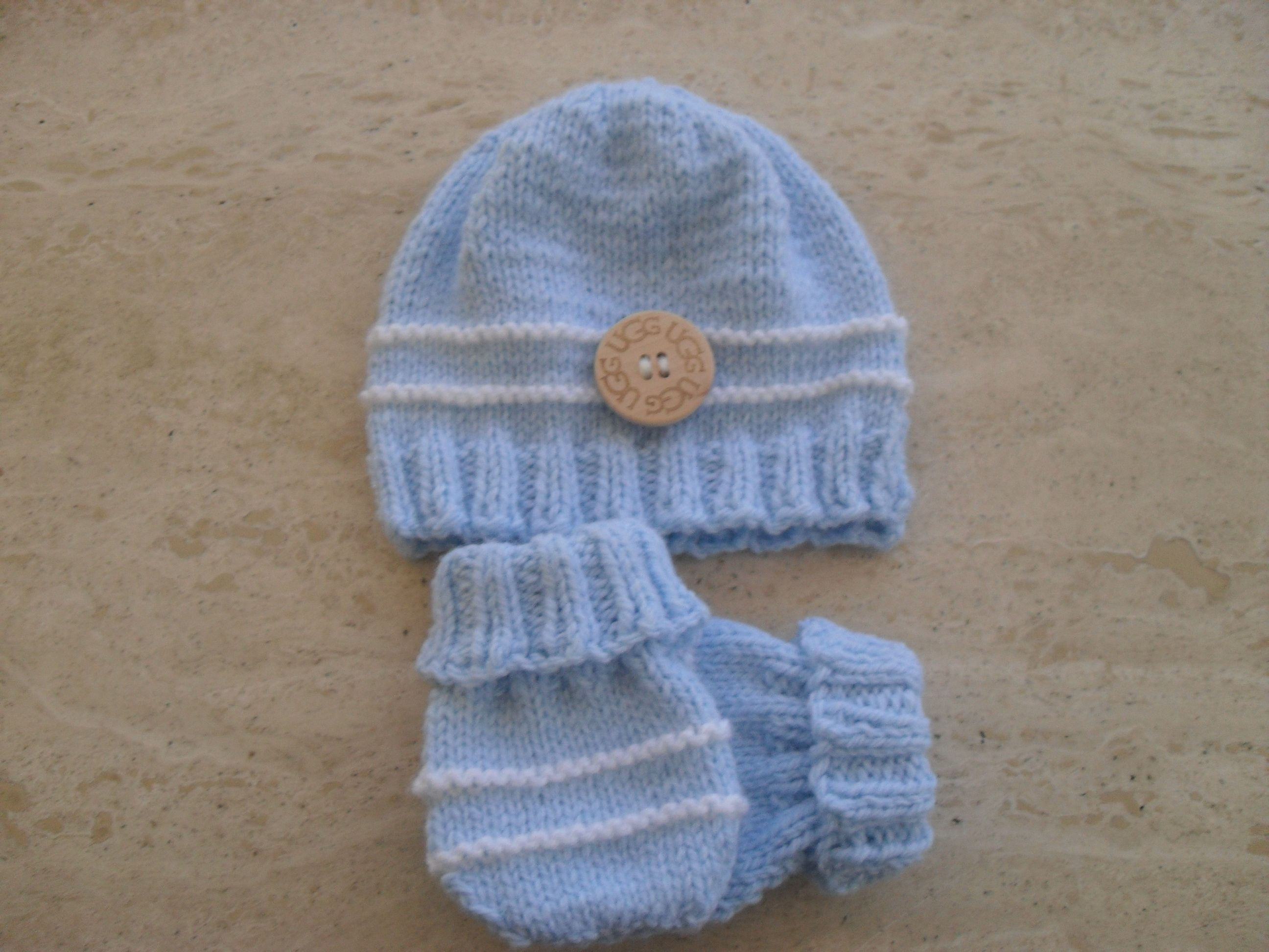 Knitting Pattern Baby Boy Beanie And Mittens This Pattern ...