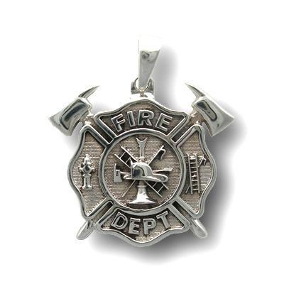 Fire Dept Maltese Cross Crossed Axes Sterling Silver Pendant Firefighter Jewelry Sterling Silver Pendants Firefighter Challenge Coins