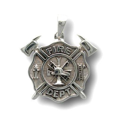 Fire Dept Maltese Cross Crossed Axes Sterling Silver Pendant