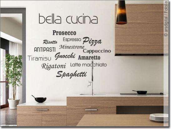 Wandschrift bella cucina Wandtattoo Worte Pinterest Cucina