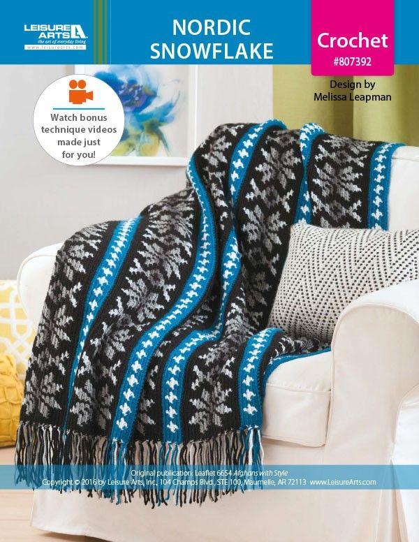 Nordic Snowflake Afghan Crochet ePattern   Fair isle pattern ...