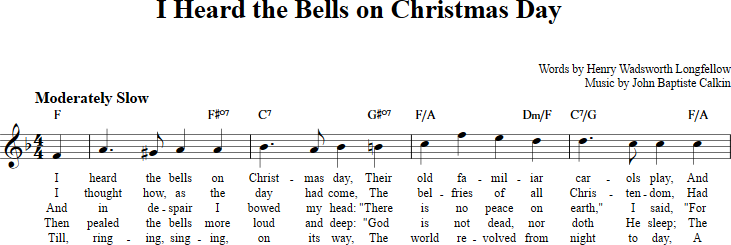 i heard the bells on christmas day sheet music with chords and lyrics for b - I Heard The Bells On Christmas Day Chords