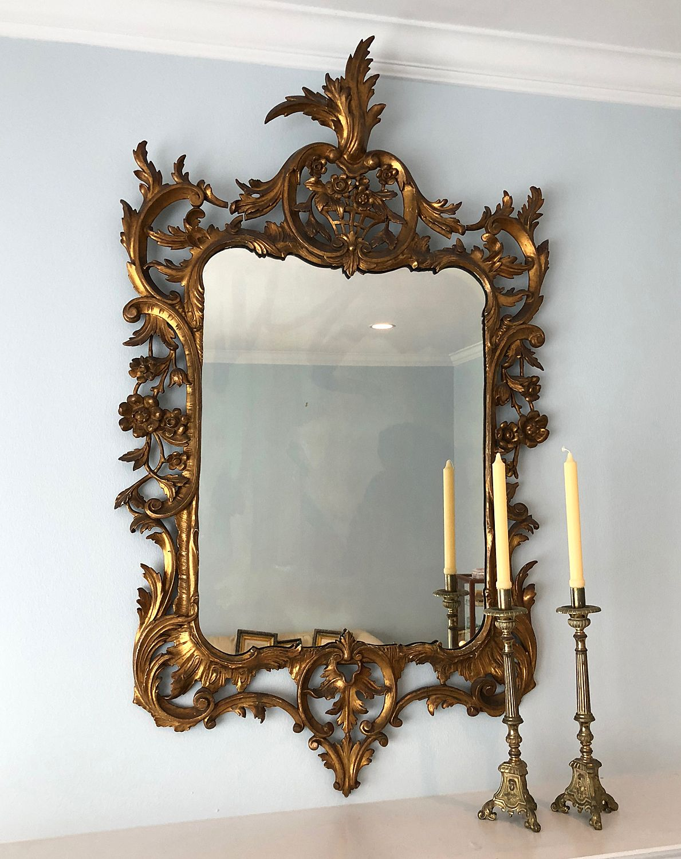 Large Vintage Italian Carved Gilt Wood Wall Mirror