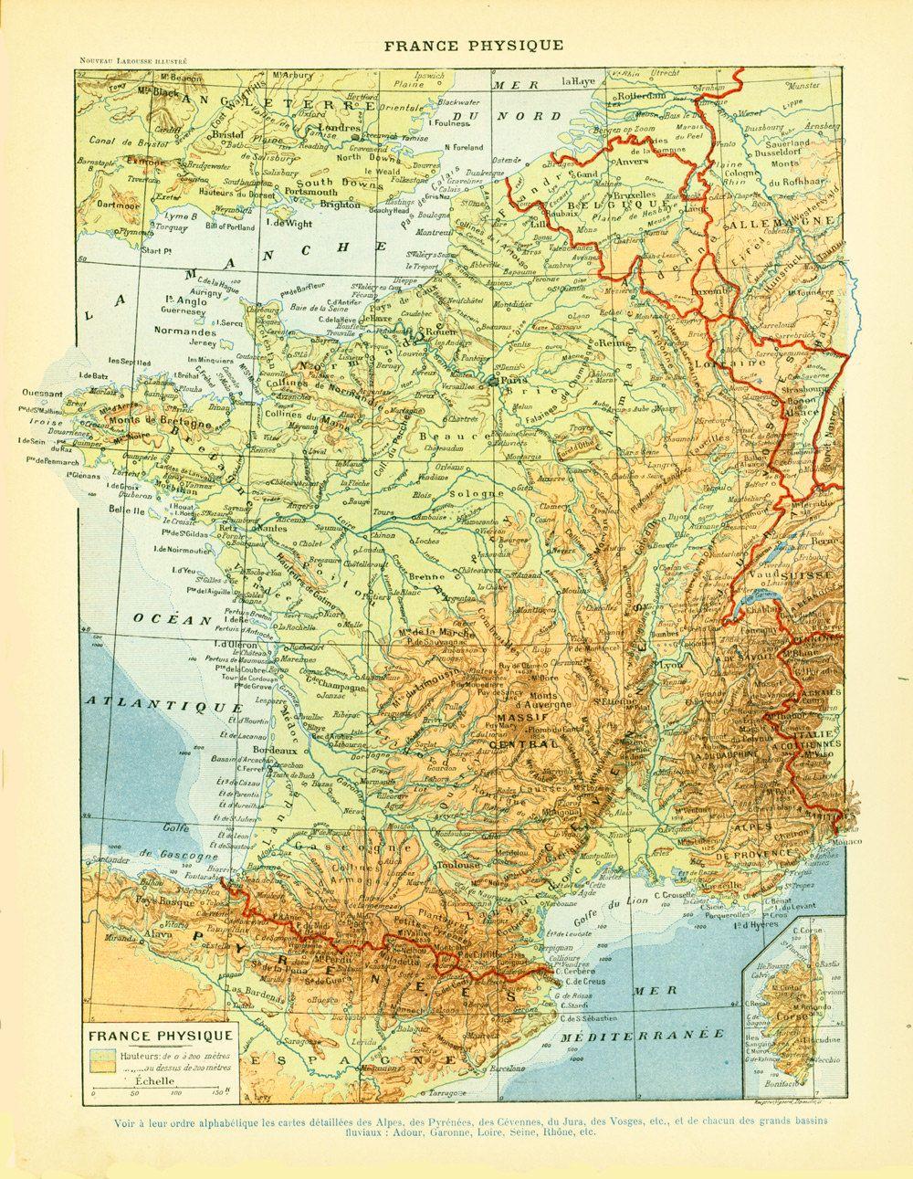 Carte Physique De La France : carte, physique, france, Carte, France, Géologique, Physique, Planche, Originale, Antique, Prints,, Antiques