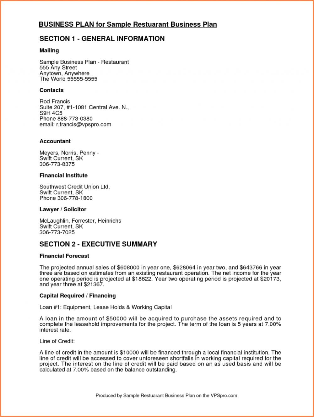 Sample Business Proposal Fornt Plan Example Partnership Restaurant ...