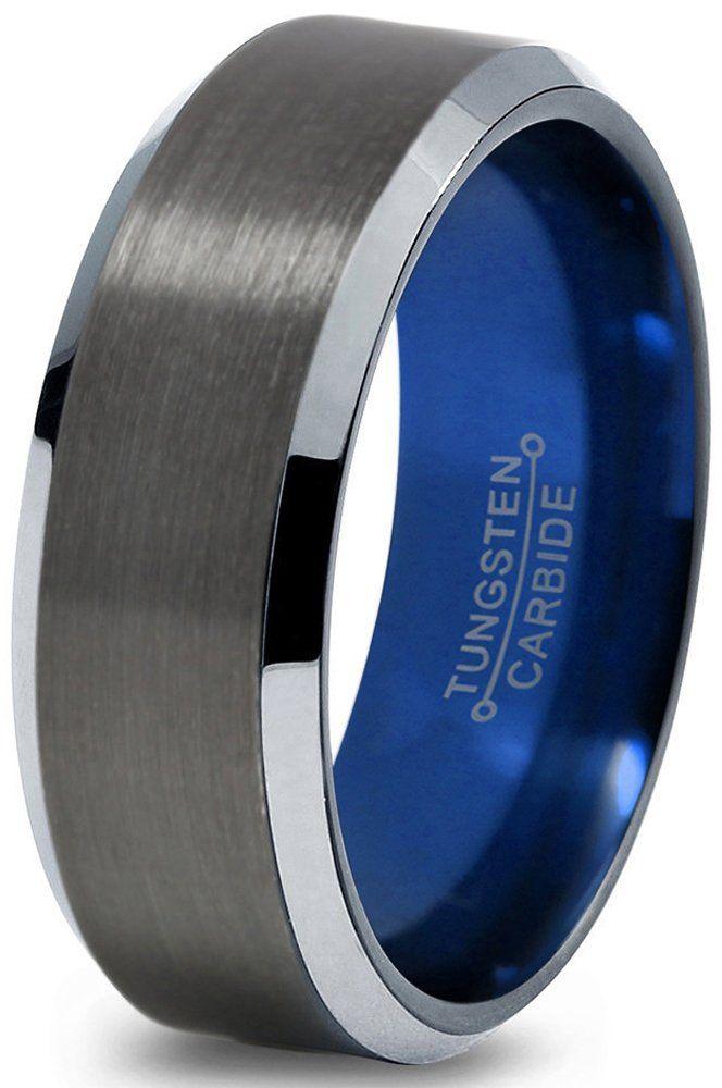 Tungsten Wedding Band Ring 8mm for Men Women Blue Black ...