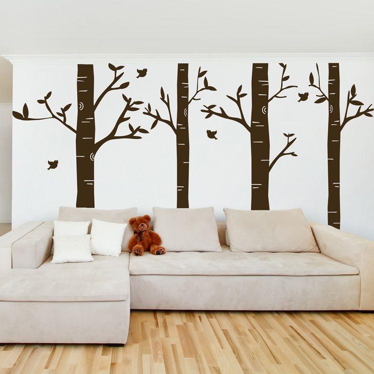 Dali Decals Birch Tree Forest Set Of 4 Wall Decals Birch Tree Wall Decal Tree Wall Decal Forest Wall Decals