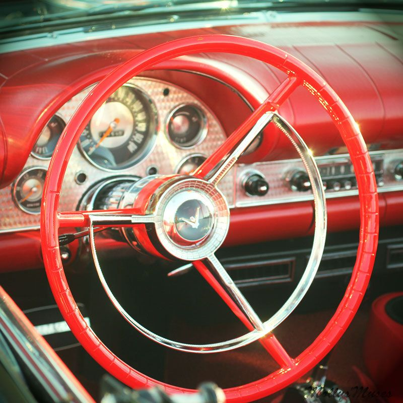 Red Photograph Classic Car Decor Big Steering Wheel Mad Men