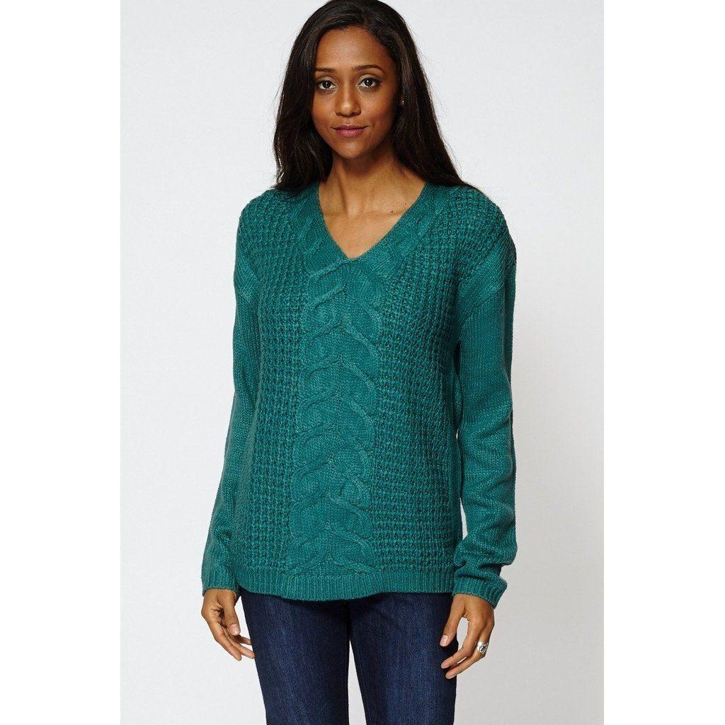 Green Cable Knit V-Neck Jumper