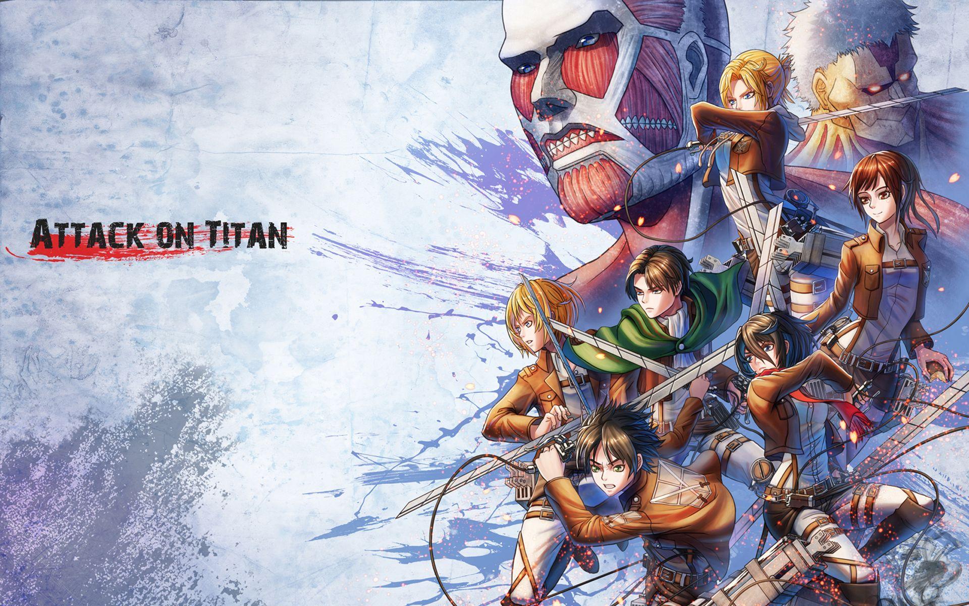 Levi Eren Mikasa Armin Sasha Annie The Colossal And Armored Titan 1920x1200 Wallpaper Attack On Titan Art Attack On Titan Anime