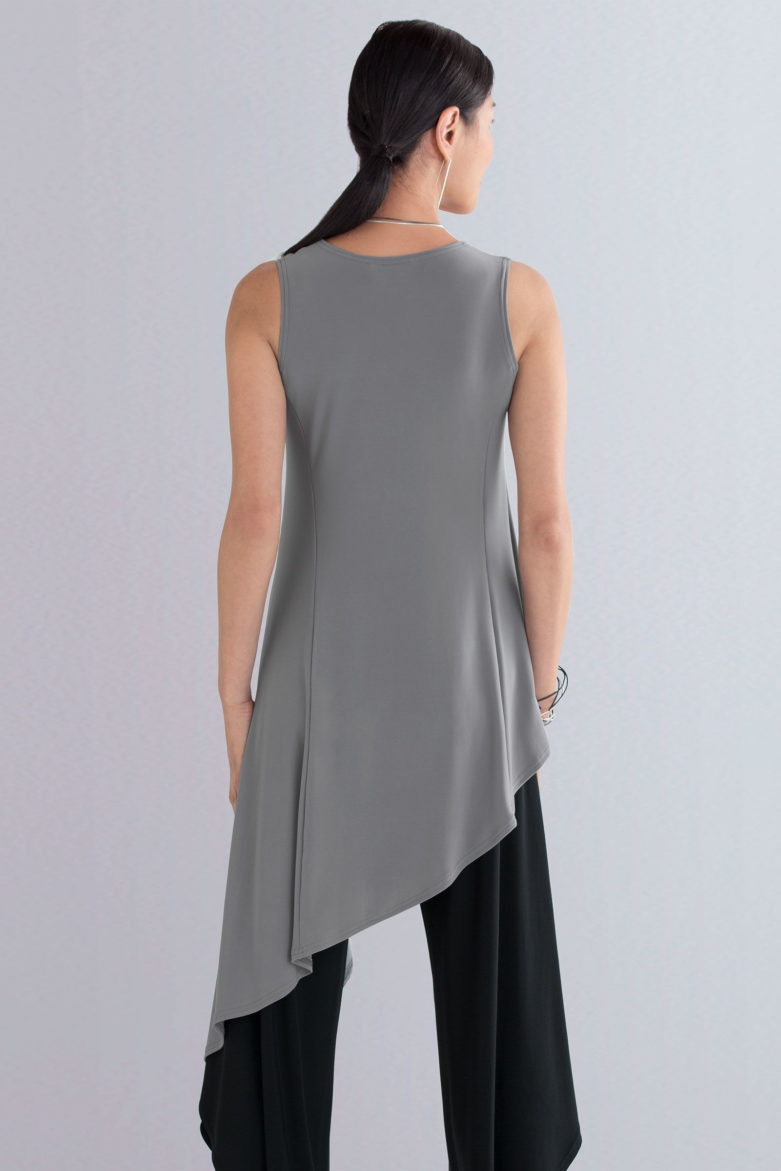 Drifter Tunic by Sympli . Drama and elegance combine in a swingy tunic with an asymmetrical hem that cascades to a long side point.