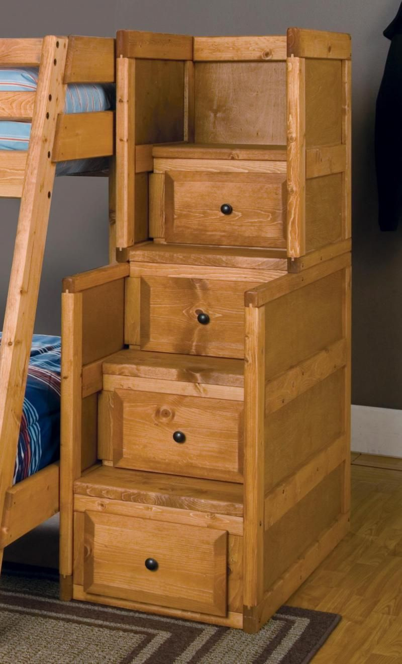 Wooden Bunk Beds With Stairs And Drawers Functionality
