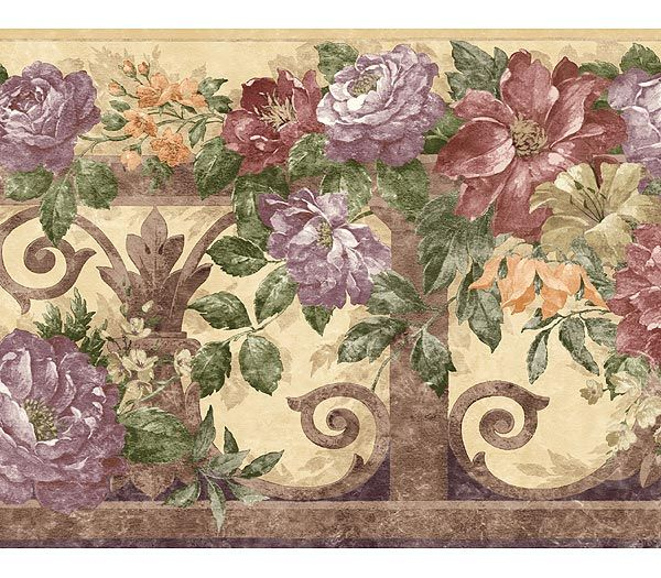 Victorian Antique Floral Violet Wallpaper Border Colour