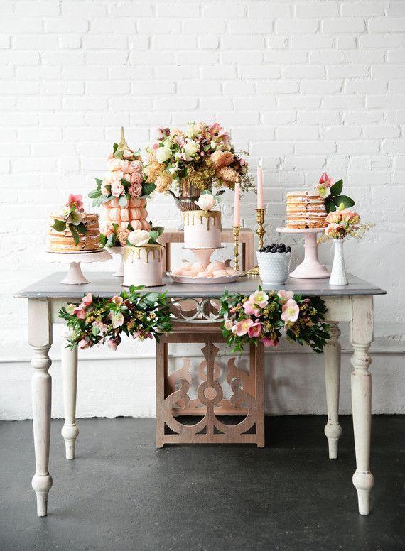 Wedding Cake Table Parisian Brunch Wedding Inspiration Wedding Cake Table Wedding Dessert Table Brunch Wedding