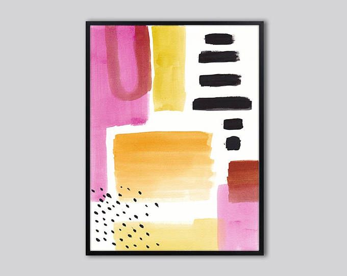 Modern PRINTABLE wall art print, pink and black abstract art print ...