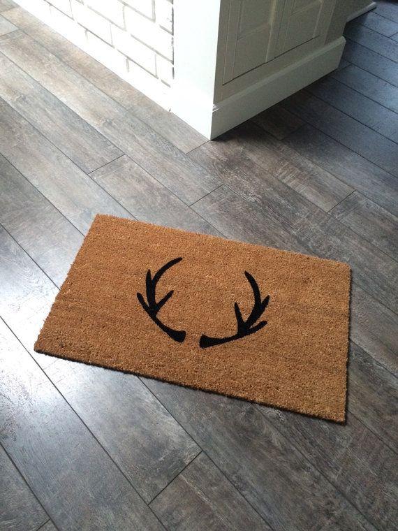 Antler doormat. Hand painted customizable by NickelDesignsShop