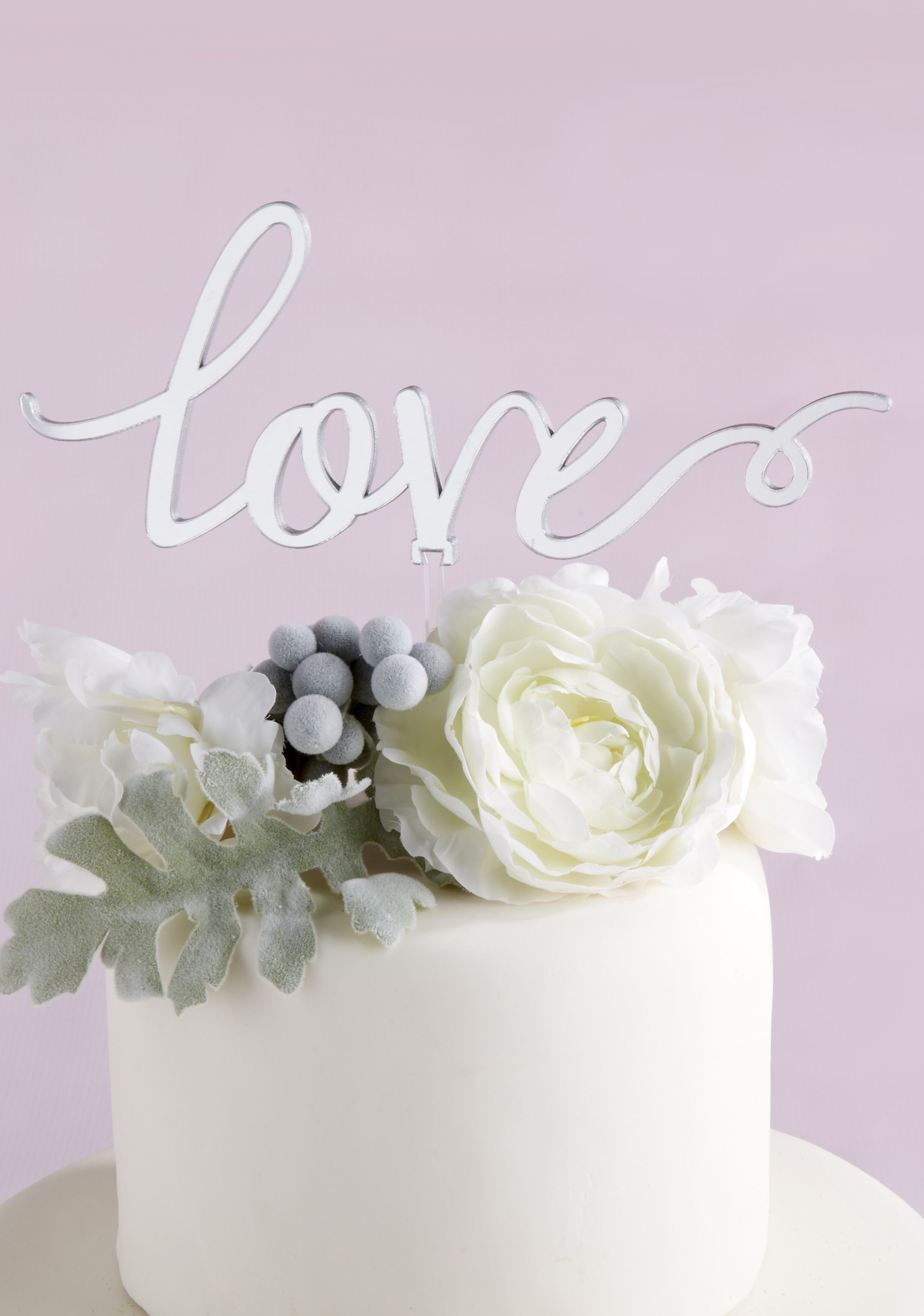 Silver Mirror Love Cake Topper | Bridal showers, Favors and Weddings