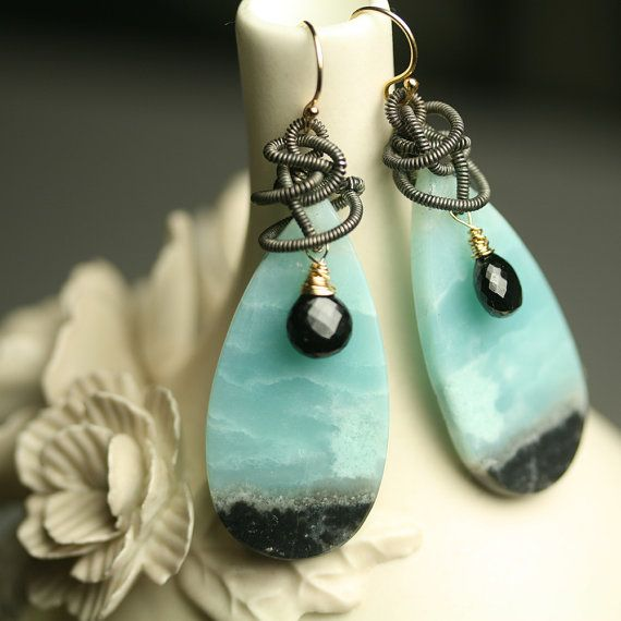 Reserved  Amazonite Long Dangle Earrings with Mixed by fussjewelry