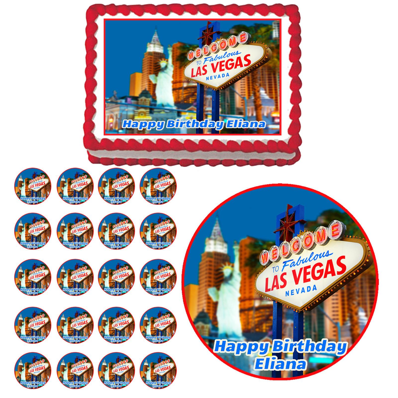 $8.75 - Las Vegas Sign Casino Edible Adult Birthday Party Cake ...